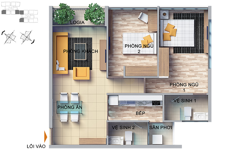 mặt bằng căn hộ chung cư Dragon Hill 2